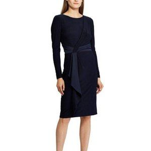 Ralph Lauren Navy Blue Satin Trim Midi Dress NWT
